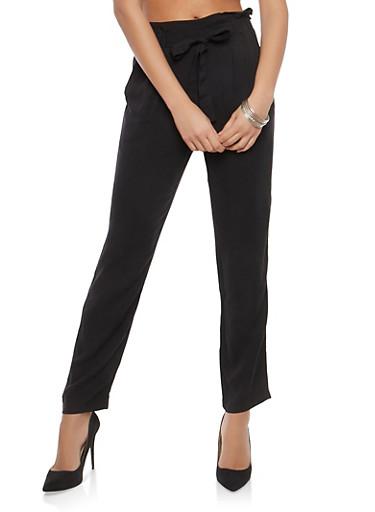 Paperbag Waist Dress Pants,BLACK,large