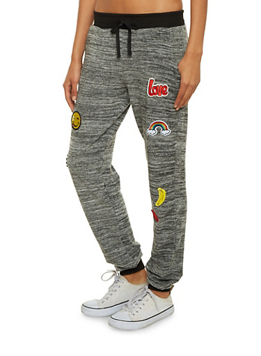 Space Dye Joggers with Emoji Patches,HEATHER,large