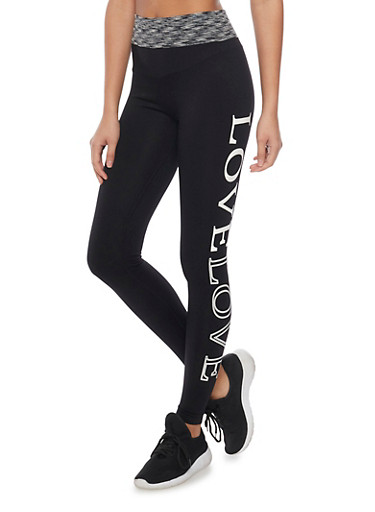 Push Up Love Graphic Activewear Leggings,BLACK,large