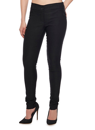 Stretch Skinny Pants,BLACK,large