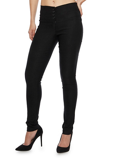 High Waisted Skinny Pants with Four Buttons,BLACK,large