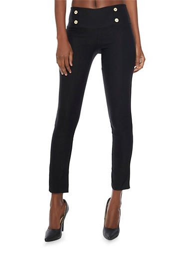 Cropped Skinny Sailor Pants,BLACK,large