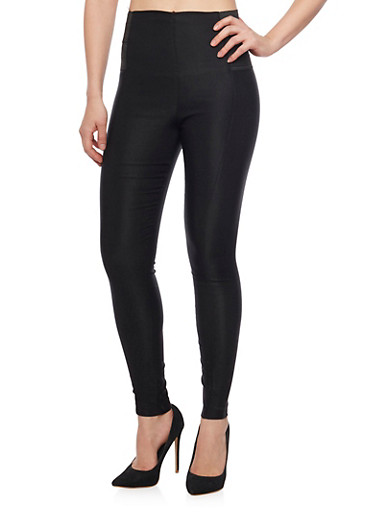 High Waisted Leggings with Side Stretch Paneling,BLACK,large