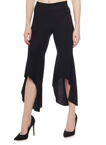 Cropped Pants with Asymmetrical Hems,BLACK,large