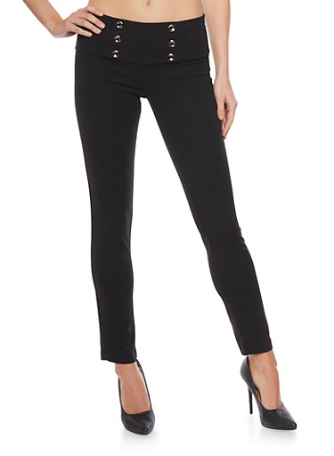 Pull on Skinny Sailor Pants,BLACK,large