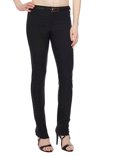 Pocketless Straight Leg Dress Pants with Belt,BLACK,large
