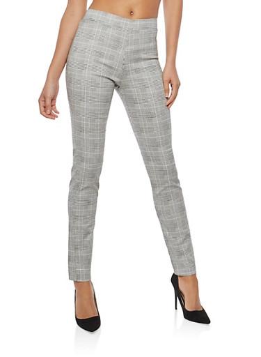 Box Print Dress Pants,BLACK/WHITE,large