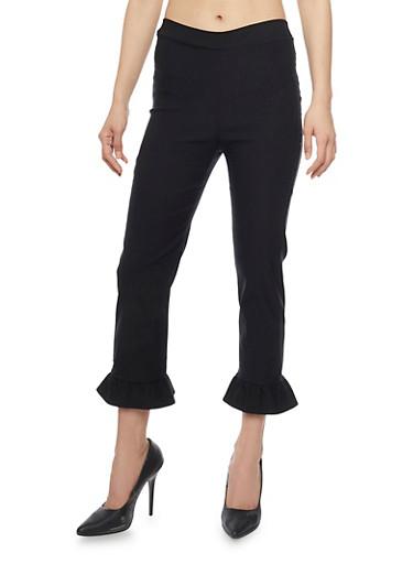 Stretch Knit Dress Pants with Ruffle Leg Detail,BLACK,large