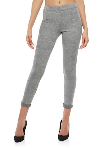 Plaid Cuffed Stretch Pants,GRAY,large