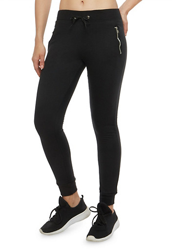 Fleece Lined Zip Joggers,BLACK,large