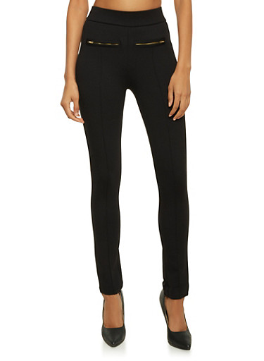 Stretch Skinny Pants with Zipper Accents,BLACK,large