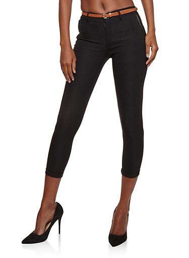 Belted Cropped Skinny Pants,BLACK,large