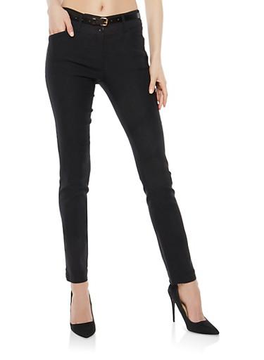 Black Belted Stretch Dress Pants,BLACK,large