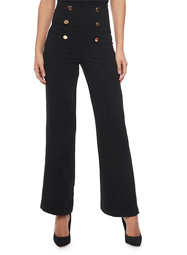 6 Button High Waisted Sailor Pants,BLACK,large