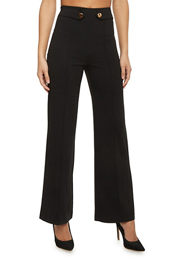 High Waist Pleated Wide Leg Dress Pants,BLACK,large