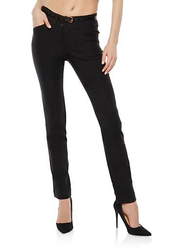 High Waisted Skinny Dress Pants,BLACK,large