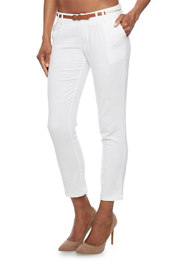 Belted Linen Pants with Rolled Ankle Cuffs,WHITE,large