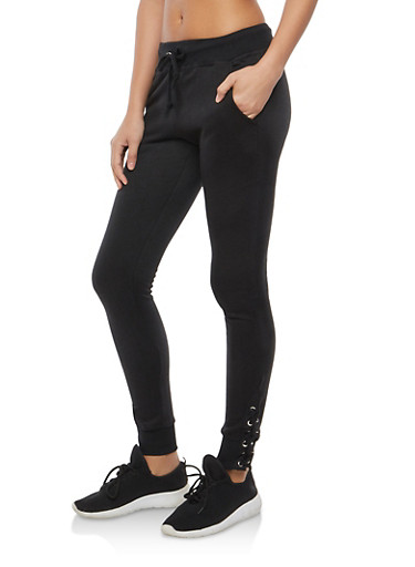 Fleece Lined Lace Up Sweatpants,BLACK,large