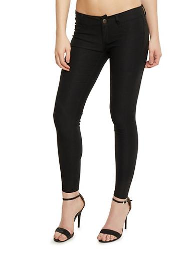 Faux Pocket Stretch Knit Pants,BLACK,large