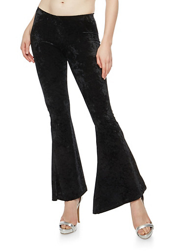 Crushed Velvet Flared Pants,BLACK,large
