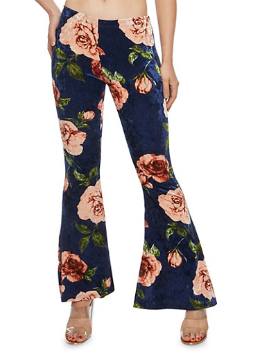 Velvet Rose Print Flared Pants,NAVY/MAUVE,large