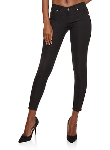 Black Cropped Skinny Jeggings,BLACK,large