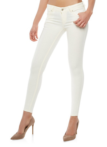 Colored Stretch Jeggings,WHITE,large