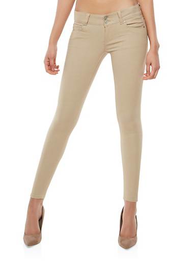 2 Button Khaki Stretch Jeggings,KHAKI,large