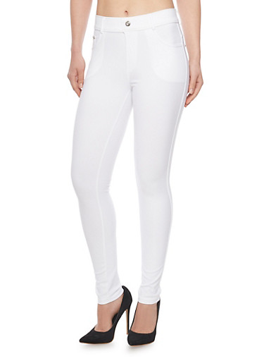 Ponte Jeggings with Rhinestone Buttons,WHITE,large
