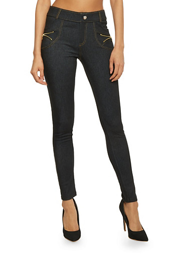 4 Pocket Jeggings with Zipper Accents,BLACK,large
