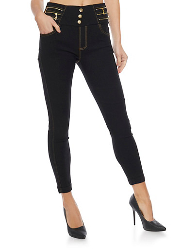 High Waisted Jeggings with 3 Buttons and Zipper Details,BLACK,large