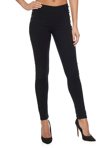 8 Button Skinny Sailor Pants,BLACK,large