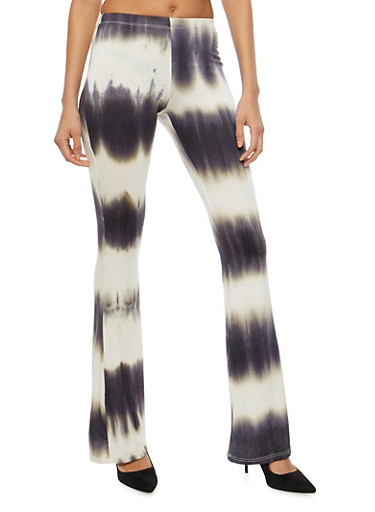 Tie Dye Flared Pants,BLACK/WHITE,large