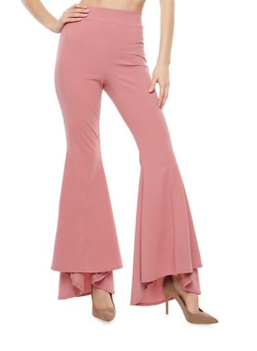 Crepe Knit High Low Bell Bottom Pants,MAUVE,large