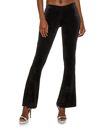 Velvet Flared Pants,BLACK,large