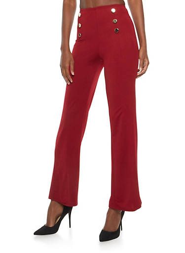 Crepe Knit Sailor Palazzo Pants,BURGUNDY,large