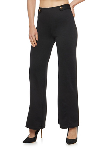 Crepe Knit Two Button Palazzo Pants,BLACK,large