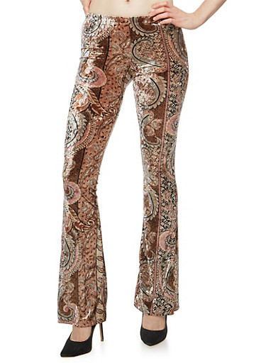 Printed Flared Velvet Pants,TAUPE,large