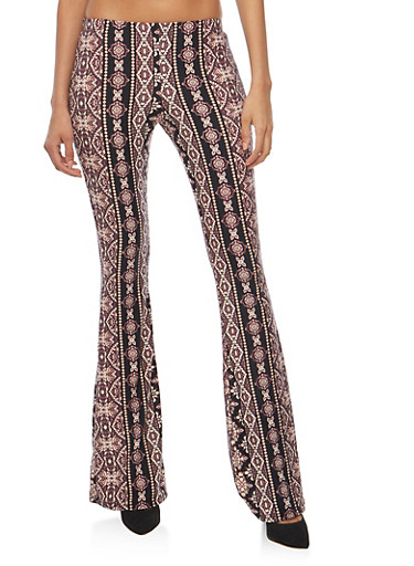 Printed Flared Pants,ROSE,large