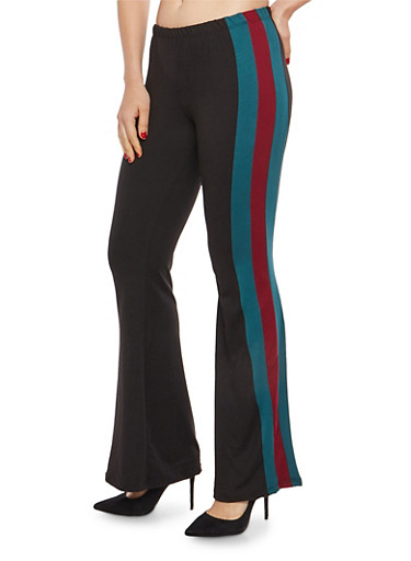 Side Stripe Soft Knit Flared Pants,BLACK/BURGUNDY,large