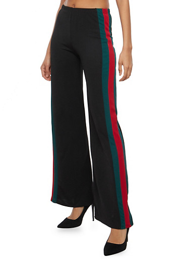 Crepe Knit Side Stripe Palazzo Pants,BLACK,large