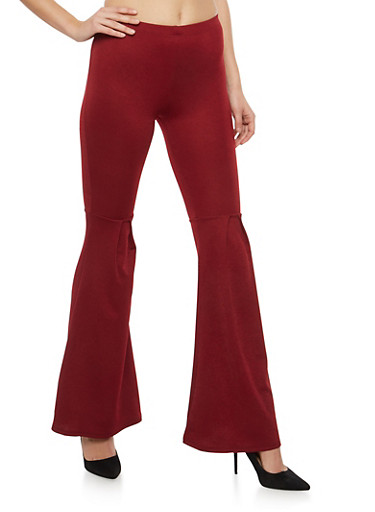 Crepe Knit Pleated Bell Bottom Pants,BURGUNDY,large