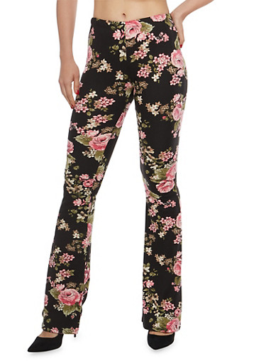Printed Flared Pants,BLACK/ROSE,large