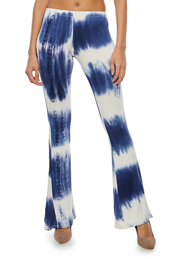 Tie Dye Soft Knit Flared Pants,NAVY,large