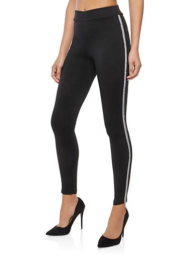 Side Stripe Skinny Pants,BLACK,large