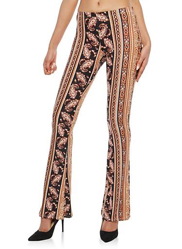 Soft Knit Printed Flared Pants,GRAY,large