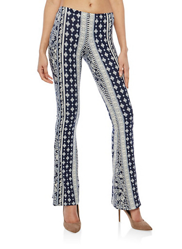 Paisley Print Flared Pants,WHITE/NAVY,large