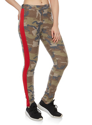 Side Stripe Camo Leggings,OLIVE,large