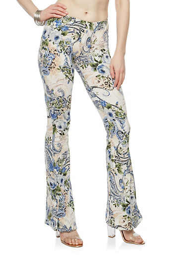 Floral Soft Knit Flared Pants,IVORY/NAVY,large