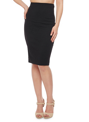 Classic Textuered Knit Pencil Skirt,BLACK,large